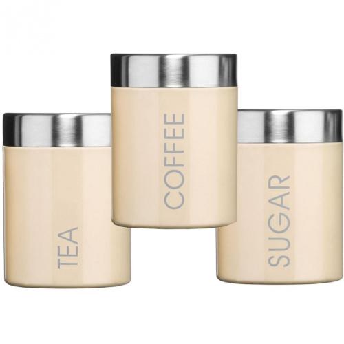 3 piece cream stainless steel tea coffee sugar food. Black Bedroom Furniture Sets. Home Design Ideas