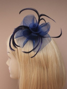 4001 Navy Looped net swirl fascinator on clip & brooch pin Wedding Party Prom