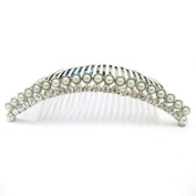 Bride Boutique Bridal Silver Crystal Diamante & Pearl Vintage Style Curved Hair Slide Side Comb