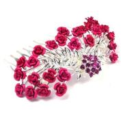 Bride Boutique Bridal Wedding Prom Metal Rose Flowers & Crystal Hair Slide Comb Clip Fascinator