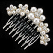Fabulous Ivory Pearl Daisy Hair Comb Slide - Free Gift Pouch / Box - BHC0197