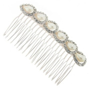 Royal Pearl and Crystal Loop Hair Comb Slide - Free Gift Pouch / Box - BHC0193