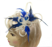 Cream looped fascinator with royal blue feathers for special occasions
