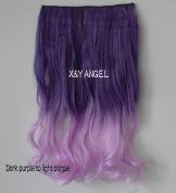 X & Y ANGEL- New Long Curly Synthetic Hair Extensions Clip-on In Hairpieces dark purple to light purple