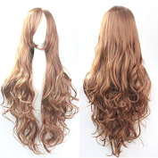 Womens/Ladies 80cm Light brown Colour Long CURLY Cosplay/Costume/Anime/Party/Bangs Full Sexy Wig