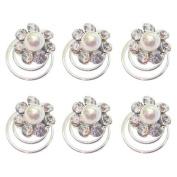 Bride Boutique Bridal Wedding Prom Crystal & Pearl Flower Hair Coils Swirls Spirals Twists Pins