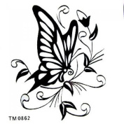 SPESTYLE waterproof non-toxic temporary tattoo stickersnew design small size 9cm x 7cm Inches black butterfly temporary temporary tattoos