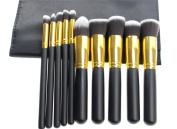 Fashion Base Professional 10PCS Black and Gold Makeup Brushes Set Eyeshadow Brush
