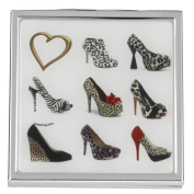 'A Girl Can Never Have Too Many Shoes' Animal Print 2x Magnification Square Compact Mirror