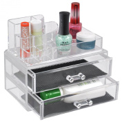 Cosmetic Jewellery Rack Makeup Organiser Box Case Clear 2 Storage Drawers Insert Holder Box