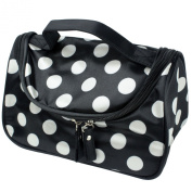 niceeshop(TM) Black Small White Polka Dot Dual Zipper Cosmetic Bags Toiletry Makeup Bags Hand Case Bags