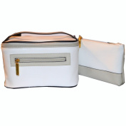 Estee Lauder luxury white faux leather make-up case and cosmetic pouch set