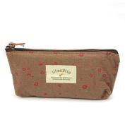 Flower Floral Pencil Pen Case Cosmetic Makeup Bag Zipper Pouch Purse New - Coffee