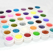 Crazy Cart Pro 36 Shiny Colours Nail Art UV Gel Builder Powder Acrylic Tips Glue Set Kit DIY Decorations