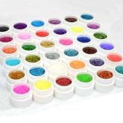 Crazy Cart Pro 36 Shiny Colours Nail Art UV Gel Builder Powder Acrylic Tips Glue Set Kit DIY Decorations