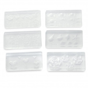 6 X 3D Acrylic Nail Art Mould Tips Decor DIY Design Different Styles Transparent