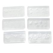 6 X 3D Acrylic Nail Art Mould Tips Decor DIY Design Different Styles Transparent