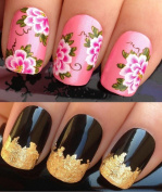 NAIL ART SET #186. A SHEET OF WATER NAIL TRANSFERS & A LARGE GOLD LEAF SHEET FOR CUSTOM DESIGNED NAIL! GORGEOUS LARGE PINK FLOWER HEADS WITH SCRIBBLE STYLE LEAVES & BLACK FLICKS & SWEEPS WATER WRAP/STICKERS/DECALS & STUNNING 24KT GLIZZY GOLD LEAF FOR F ..