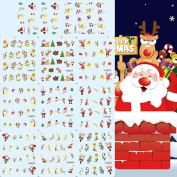 Five Season New Trendy mix 3D Christmas Nail Art Tips Pack Decal Wrap Water Transfer Stickers DIY Decoration Fashion Xmas Gift