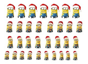 Easy to use nail art transfer stickers Dispicable Me Minions - Christmas