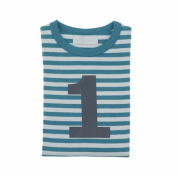 Bob and Blossom Peacock & Dove Grey Striped Number 1 Numbers T-shirt