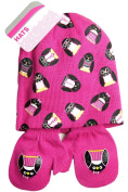 Baby Girls All Over Penguin Print Design Hat And Mitt Set