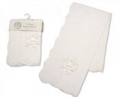 Baby Christening Shawl White/Silver With Embroidery and Applique - 100% Cotton