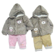 Cute Two Piece Clothes Set Comprising Faux Fur Hooded Baby Coat With Teddy Applique And Padded Trousers - Beige Age 3-6 Months