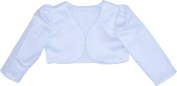 Girls White Long Sleeve Bolero Jacket 6-12 MONTHS - 9-10 YEAR