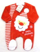 Adorable Red Christmas Design Velour Sleepsuit With Santa & Happy Christmas Applique - Size Newborn