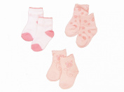 Baby Girls Cute Socks 3 Pairs - Pink Butterfly & Flowers Design (Newborn