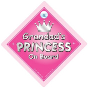 Grandad's Princess On Board Car Sign, Grandad, Car Sign, Baby On Board Sign, girl, Novelty Car Sign, Baby Car Sign