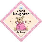 Granddaughter On Board, Pink Bear Quilt, Baby On Board Sign, Child on Board Sign, Baby on Board, Bumper Sticker, Decal, Funny Driving Sign, Bumper Sticker Style, Baby on Board Style, Retro Car Sign
