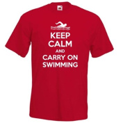 KEEP CALM and carry on SWIMMING, freestyle, front crawl, water sports funny mens womens T-Shirt