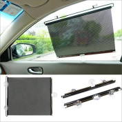 Accessotech 2 x Black Car Window Sun Shade Roller Blind Screen Protector Large Protection Children