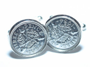 1934 80th Birthday Silver threepence coin cufflinks made from real coins
