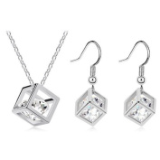 White Magic Cube Jewellery Silver Set with White Zircons Drop Earrings & Necklace S419