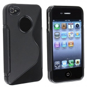 BLACK SILICONE GEL S LINE CASE COVER FOR IPHONE 4 4S 4G -- 16GB 32GB 64GB -- including Screen Protector - Part of the Crazy4Fones accessory Range