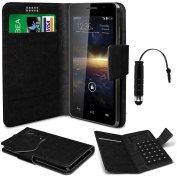 N4U Online® - Vodafone Smart 4 Turbo Black PU Leather Suction Pad Wallet Case Cover & Mini Stylus Pen -