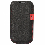 Pack & Smooch iPhone 5s 5c 5 case cover sleeve -ELIE- with RED contrast stiching - 100% Merino wool felt