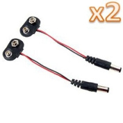 Kobwa(TM) 2.1x5.5mm Male DC Plug To 9v Battery Clip Connector(Set of 2 Pcs) With Kobwa's Keyring