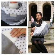 "Mania Breastfeeding scarf ""Grey Star"" with small pocket for nursing pads in size L/XL"