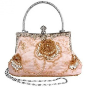 Ecosusi Vintage Seed Beaded Rose Wedding Bag Party Clutch Prom Evening Handbag