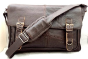 Men's Soft Leather Satchel / Shoulder Messenger Bag with Adjustable Shoulder Strap in Brown