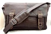 Men's Soft Leather Satchel / Shoulder Messenger Bag with Adjustable Shoulder Strap in Brown