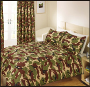 Single Bed Duvet / Quilt Cover Bedding Set Army Camouflage Green