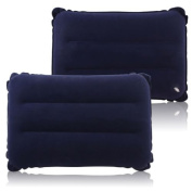 eMarkooz(TM) 2 X Inflatable Soft PillowS Camping Travel Blow-Up Blue NEW