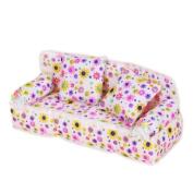 Dollhouse Miniature Furniture Flower Print Sofa Couch