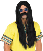 Mens 60s Hippy Wig And Glasses
