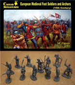 Caesar Miniatures 1/72 European Medievil Foot Soldiers and Archers (15th Century) # 088